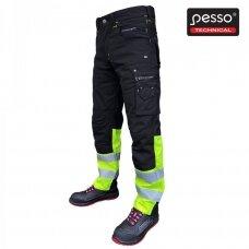 Darbo kelnės Pesso KDCJG iš Canvas audinio, juodos su geltona