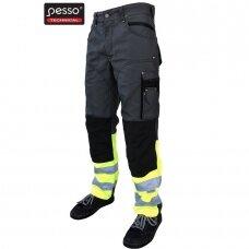 Darbo kelnės Pesso KDCPG iš Canvas audinio pilkos su geltona