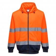 Dviejų spalvų bliuzonas su gobtuvu ir užsegimu priekyje PORTWEST B317, oranžinis