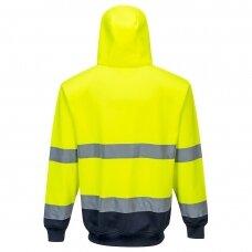 Dviejų spalvų bliuzonas su gobtuvu ir užsegimu priekyje PORTWEST B317, geltonas