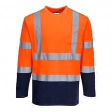 Dviejų spalvų medvilniniai marškinėliai ilgomis rankovėmis PORTWEST S280, oranžinė