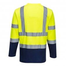Dviejų spalvų medvilniniai marškinėliai ilgomis rankovėmis PORTWEST S280, geltona