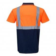 Dviejų spalvų polo marškinėliai PORTWEST S479, oranžiniai/tamsiai mėlyni