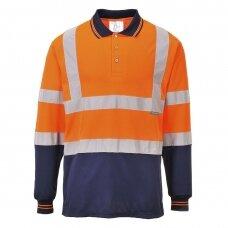 Dvispalviai Polo marškinėliai ilgomis rankovėmis PORTWEST S279 , oranžiniai
