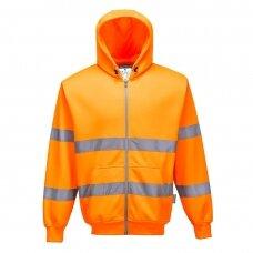 Džemperis su gobtuvu ir užtrauktuku priekyje PORTWEST B305, oranžinis