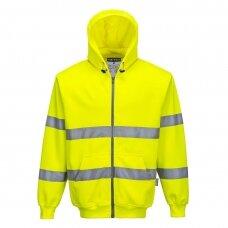 Džemperis su gobtuvu ir užtrauktuku priekyje PORTWEST B305, geltonas