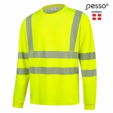 Marškinėliai PESSO HI-VIS HVMIL ilgomis rankovėmis, geltoni