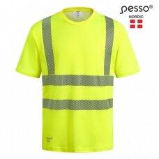 Marškinėliai nesiglamžantys PESSO HVMCOT Hi-vis, geltoni