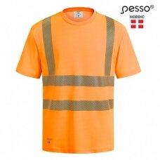 Marškinėliai nesiglamžantys PESSO HVMCOT Hi-vis, oranžiniai