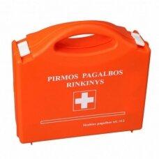 Pirmosios pagalbos rinkinys (vaistinėlė) plastikinėje dėžutėje