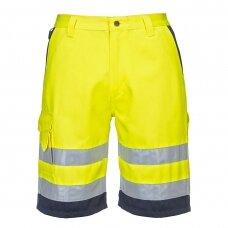 Poliesterio ir medvilnės šortai PORTWEST E043, geltoni/tamsiai mėlyni