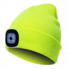 Šilta kepurė PESSO KLED su LED apšvietimu geltona