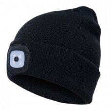 Šilta kepurė PESSO KLED su LED apšvietimu,juoda