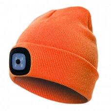 Šilta  kepurė Pesso su LED apšvietimu,oranžinė